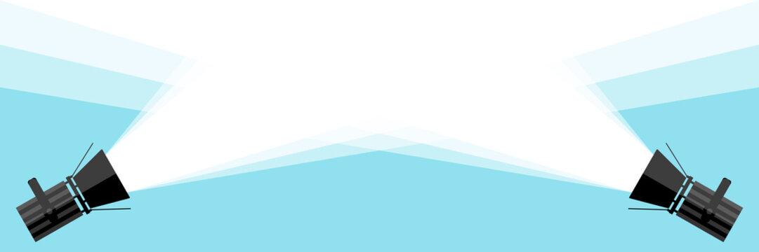 Banner two spotlight . Vector flat spotlight on blue background. Vector illustration