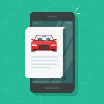 Car text info repot and instruction document online web page on mobile phone or smartphone automobile history description, concept of vehicle content or reading vector flat cartoon illustration