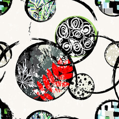 abstract floral background pattern, with circles, leaves, strokes and splashes, seamless