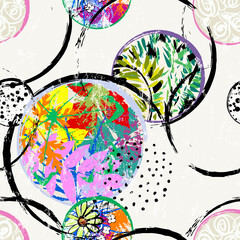 abstract floral background pattern, with circles, flowers, leaves, strokes and splashes, seamless