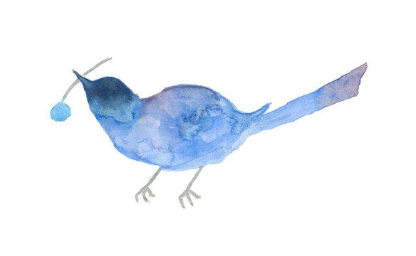水彩で描いた木の実をくわえた青い鳥のイラスト