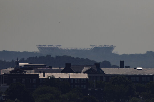 FedEx Field is seen from a distance, as the National Football League Franchise Washington Redskins continues the process in changing the team's name, in Washington