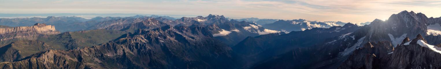 Wall Murals Nepal Panorama of mountain range at down. Mont Blanc massif
