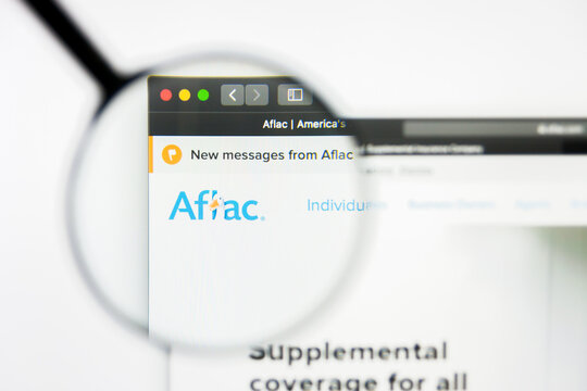Richmond, Virginia, USA - 8 May 2019: Illustrative Editorial of Aflac Incorporated website homepage. Aflac Incorporated logo visible on display screen.