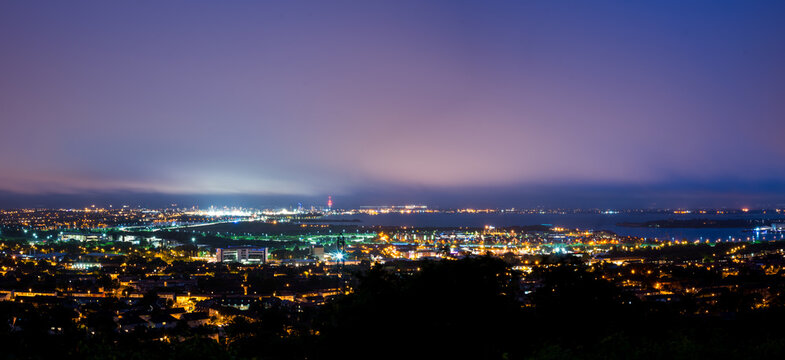 Portsmouth and Surrounding Areas at Night Panorama HDR