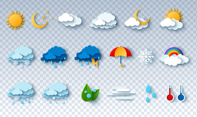 Fototapeta Paper cut weather icons set on transparent background. Vector illustration. White clouds, dew on leaves, fog sign, day and night for forecast design. Sun and thunderstorm stickers.