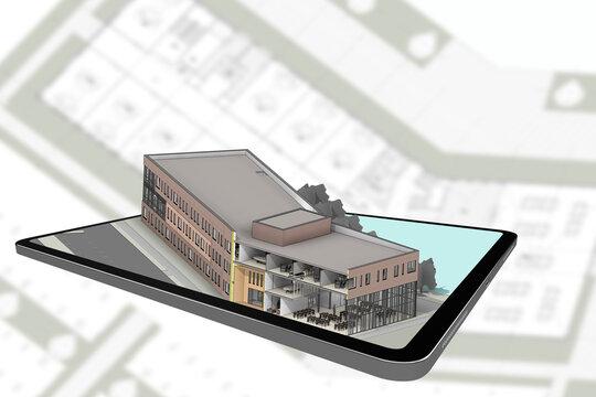 3D rendering building coming out of tablet