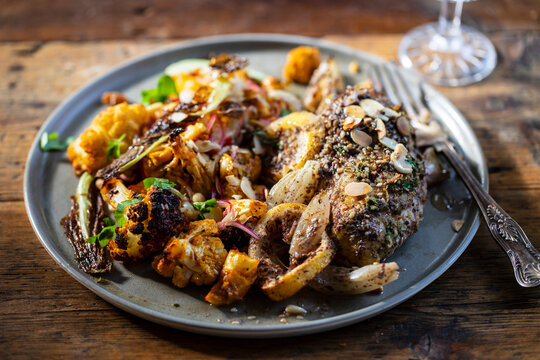 Roast cauliflower salad with lemon and zaatar chicken