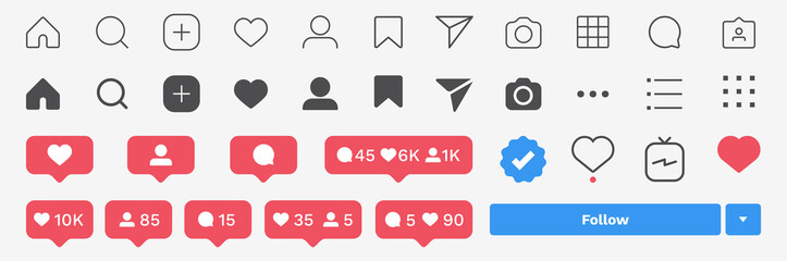 Social media icon set. Isolated UI buttons, symbols, signs. Mobile user app elements, social network editable template collection. Isolated icons on white background. Vector illustration.