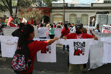 Mexican labor lawyer Susana Prieto leads a demonstration with supporters and workers outside an office of the Chihuahua state government in Mexico City