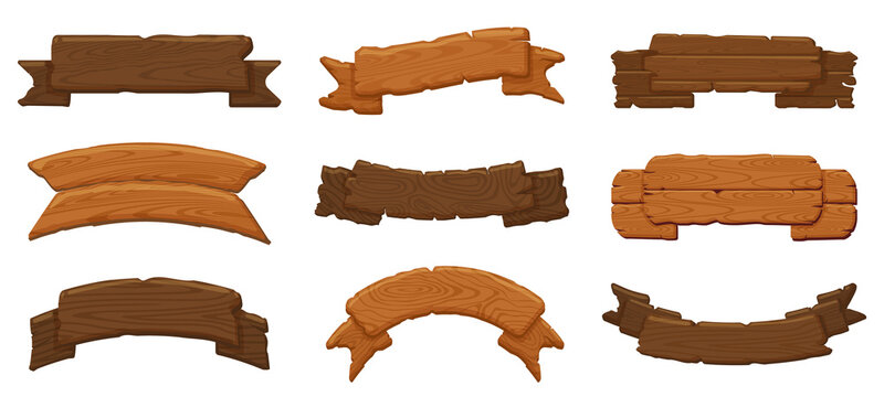 Wooden ribbon boards. Wood antique sign boards, hanging wood billboard and empty rustic banners vector illustration icons set. Wood plank board, wooden panel signpost