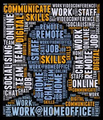 Wall Murals Newspapers Word cloud work@homeoffice as a description for the modern work during Covid-19