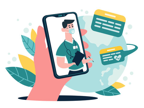 Medical online consultation. Therapist advice chat on smartphone screen, online medical internet clinic assistance service, vector illustration. Consultation medicine online, medical doctor