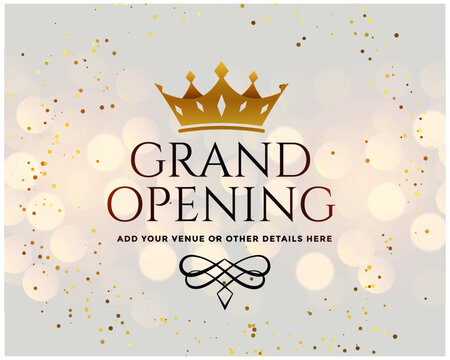 white grand opening banner with golden crown