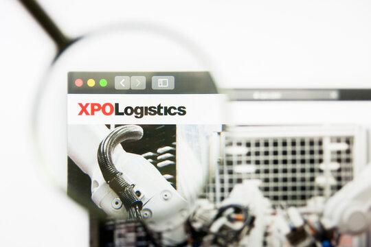 Los Angeles, California, USA - 8 April 2019: Illustrative Editorial of XPO Logistics website homepage. XPO Logistics logo visible on display screen.