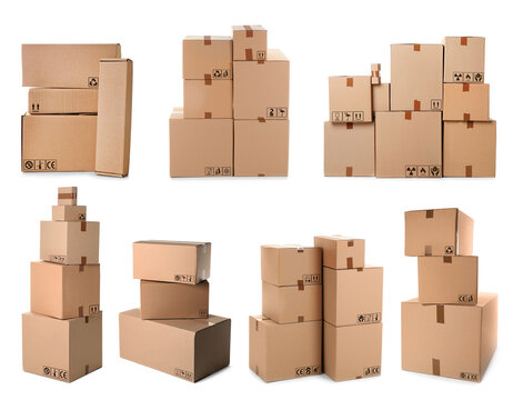 Set of parcels with different packaging symbols on white background
