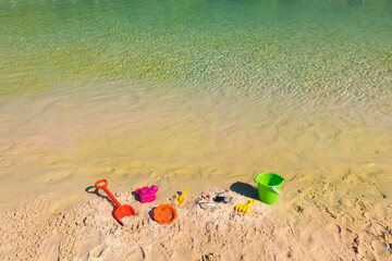 Plastic toys at the beach