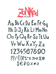 English, original display font.  Author's alphabet. A complete set of signs, numbers, capital and lowercase Latin letters. It can be used in design and logos. Awesome font.