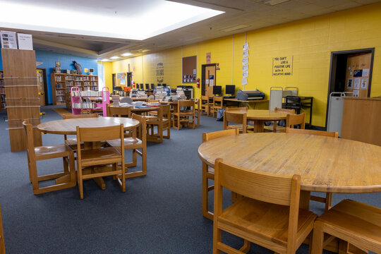 Empty library in a school