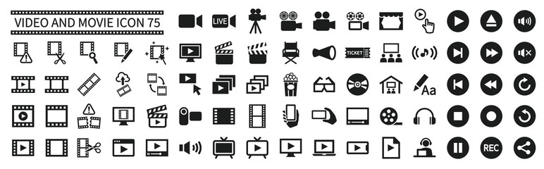 Video and movie related icons set 75