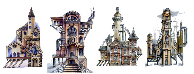 Set Steampunk architecture. Houses with a lighthouses and metal gears. Hand drawn watercolor sketch. Isolated over white background.  Fantastic steampunk houses.