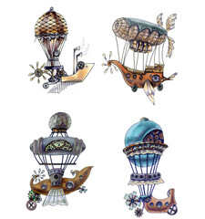 Watercolor painting is a fantastic airships. Set Illustration of a flying car in the steampunk style. Hand-drawn. Collection of air transport of the 19th century isolated on a white background.