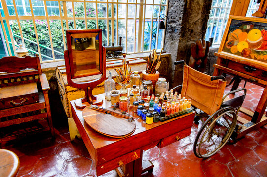 COYOACAN, MEXICO - OCT 28, 2016: Work room fro painting in the Blue House (La Casa Azul), historic house and art museum dedicated to the life and work of Mexican artist Frida Kahlo