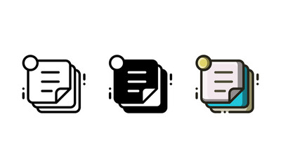 Sticky note icon. With outline, glyph, and filled outline style