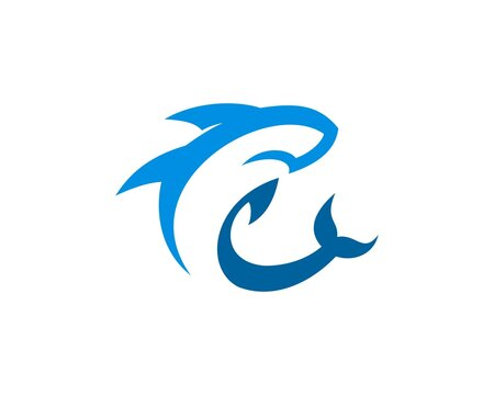 Abstract blue shark logo