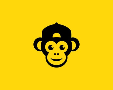 Cool monkey head with a hat