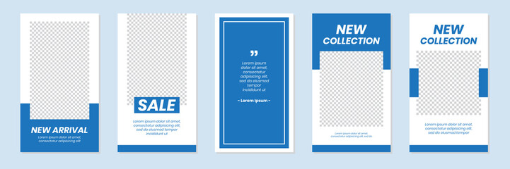 Slides Abstract Unique Editable Modern Social Media Blue Banner Template. For personal or business Anyone can use This Design Easily. Promotional web banner social media stories. Vector Illustration.