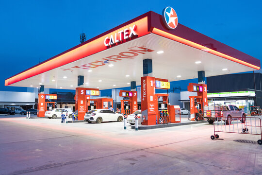 BANGKOK THAILAND :- JULY 15,  2020 : CALTEX OIL Station, Fueling stations Refuel service for Cars are refueling at the gas station Thailand. Ready to service 24 hour.