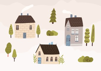 Photo sur Toile Les Textures Hand drawn village with houses and trees vector flat illustration. Colorful cozy buildings with smoke from the chimney. Residential homestead, cottage or villa surrounded by green plants