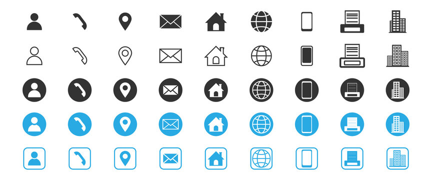 Contact us. Set of icon business for information. phone, fax, mobile, smartphone, email, location, house, globe, address, office, profile, website. Flat design. Circle shape. Vector illustration.