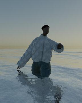Illustration of man walking in sea during sunset