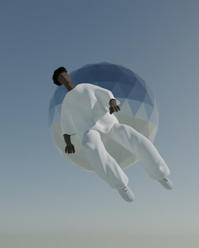 Illustration of man falling in sky