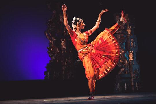 Graceful bharatnatyam dancer