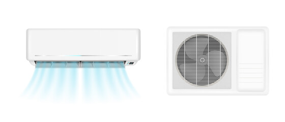 Fototapeta Air conditioner handing on wall and conditioning ventilator on window. Vector realistic mockup of split system for climate control with cold wind flows. Aircon isolated on white background obraz