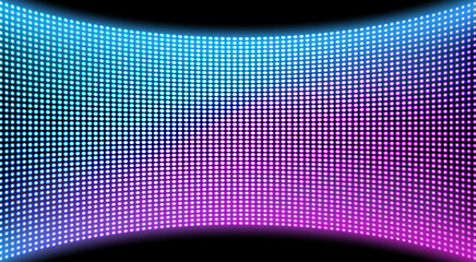 LED video wall screen texture background, blue and purple color light diode dot grid concave tv panel, lcd display with pixels pattern, television digital monitor, Realistic 3d vector illustration