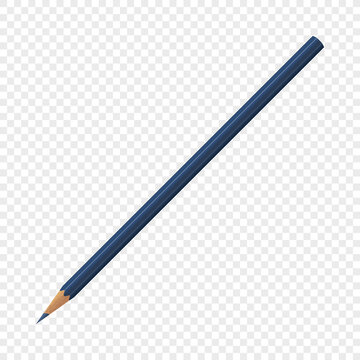 Single blue isolated crayon pencil on transparent background