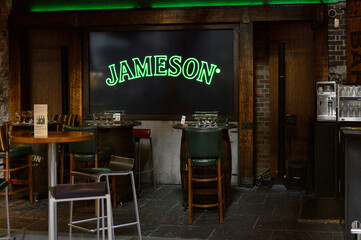 DUBLIN, IRELAND - JULY 12, 2016: Cafe at the Old Jameson Distillery, Smithfield Square in Dublin, Ireland. The original site where Jameson Irish Whiskey was distilled until 1971
