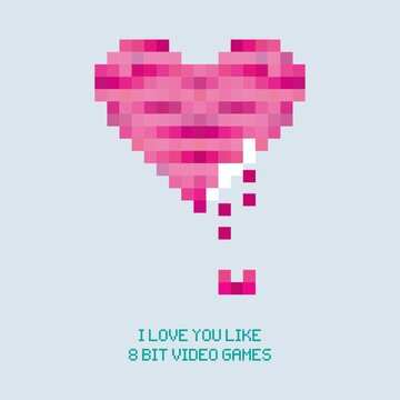 retro pixel heart