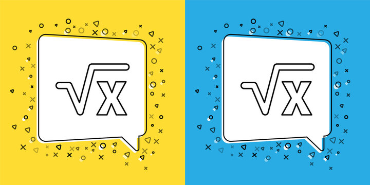 Set line Square root of x glyph icon isolated on yellow and blue background. Mathematical expression. Vector.