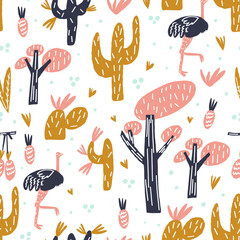 Cute ostrich, stylized tree silhouette, cactus branches, leaves and fruits composition. Element of seamless pattern. Vector illustration