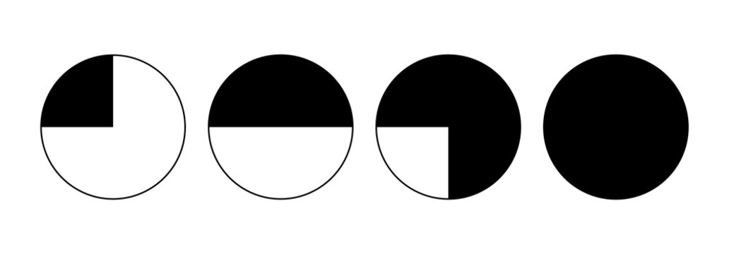 four parts of a circle. Vector illustraiton isloated on white background.