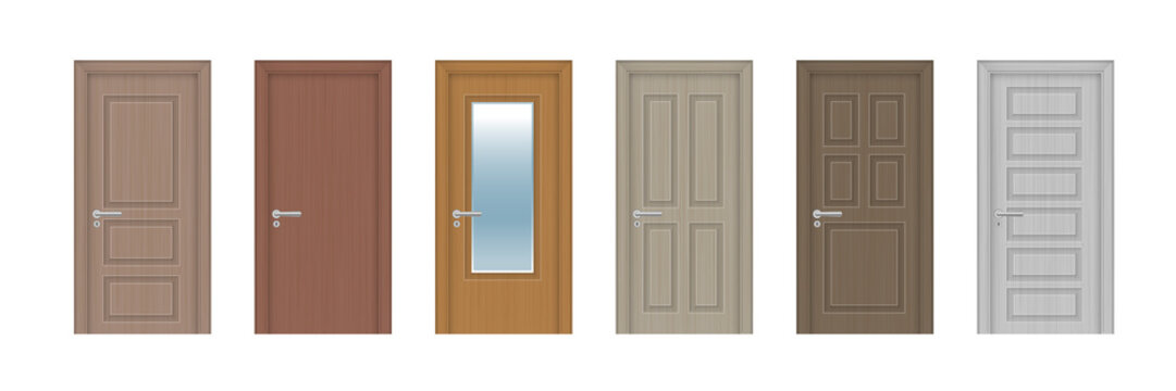 Vector set. Six wooden realistic doors of different designs.