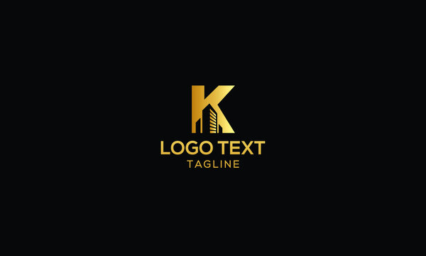 Logo design of K in vector for construction, home, real estate, building, property. Minimal awesome trendy professional logo design template
