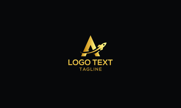 Unique Logo combination from letter A with rocket logo design concept