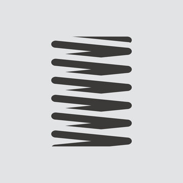 metal spring icon isolated of flat style. Vector illustration.