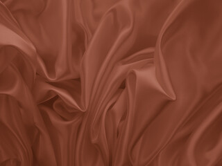 Beautiful elegant wavy brown satin silk luxury cloth fabric texture, abstract background design....